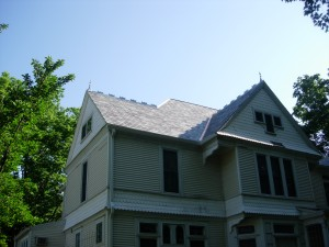 Completed section showing random color and width of slate shingles