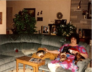 "Aunt Lana and ""The Boys"".  Here dogs were her life."