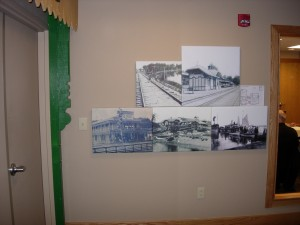 Vintage Picture Display with Train Station Pavilion column recreation on left.