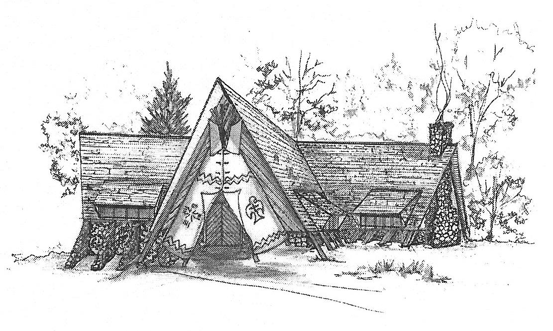 Sketch by Mary Ellen of the proposed Woodcraft Camp Museum