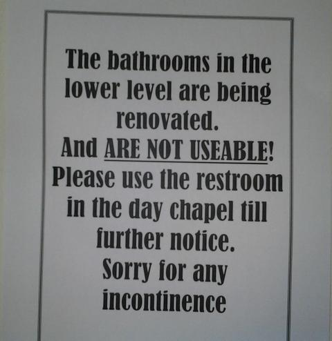 Saint Mary of the Lake Restroom Sign