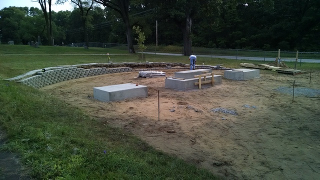 Fletcher Cemetery Retaining Wall Under Construction.
