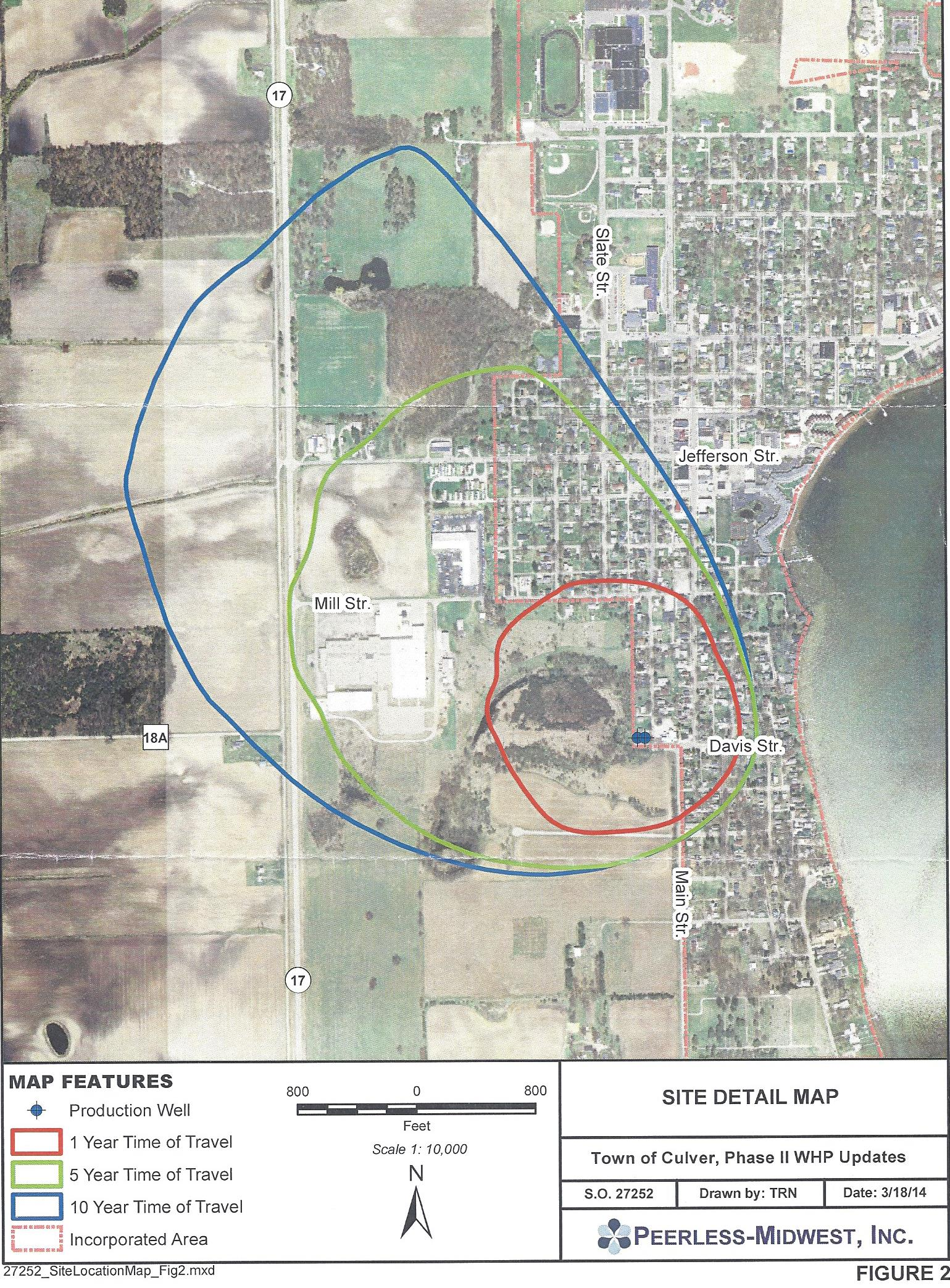 Map of Town of Culver wellhead drainage aquifer area