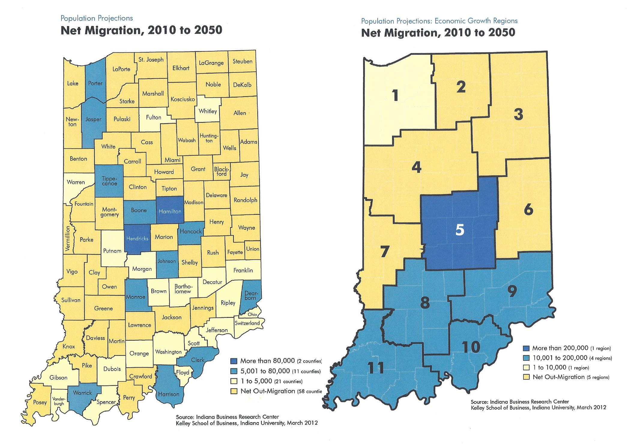 Indiana Net Migration by County