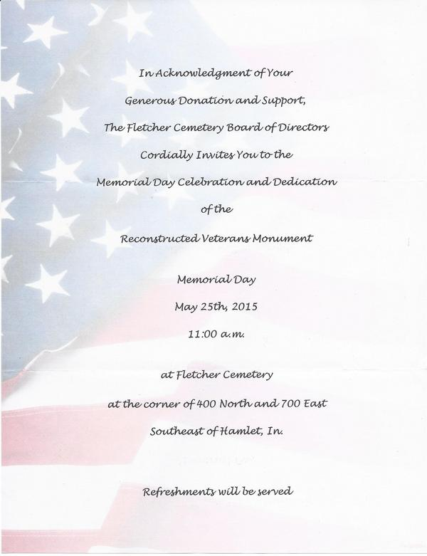 Fletcher Cemetery Dedication Invitation 5-25-15