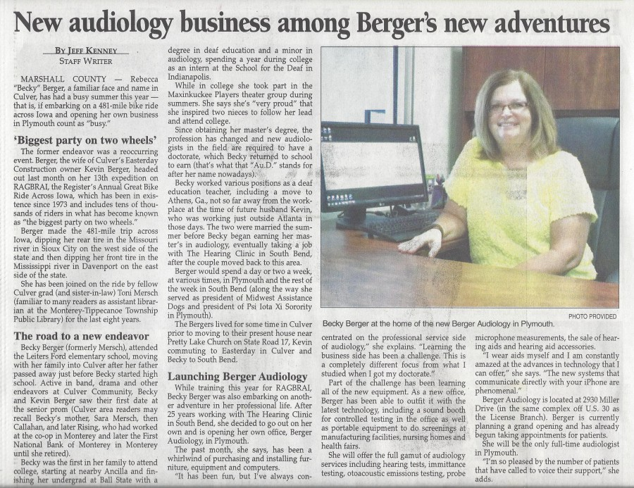 Berger Audiology Pilot News 8-26-15