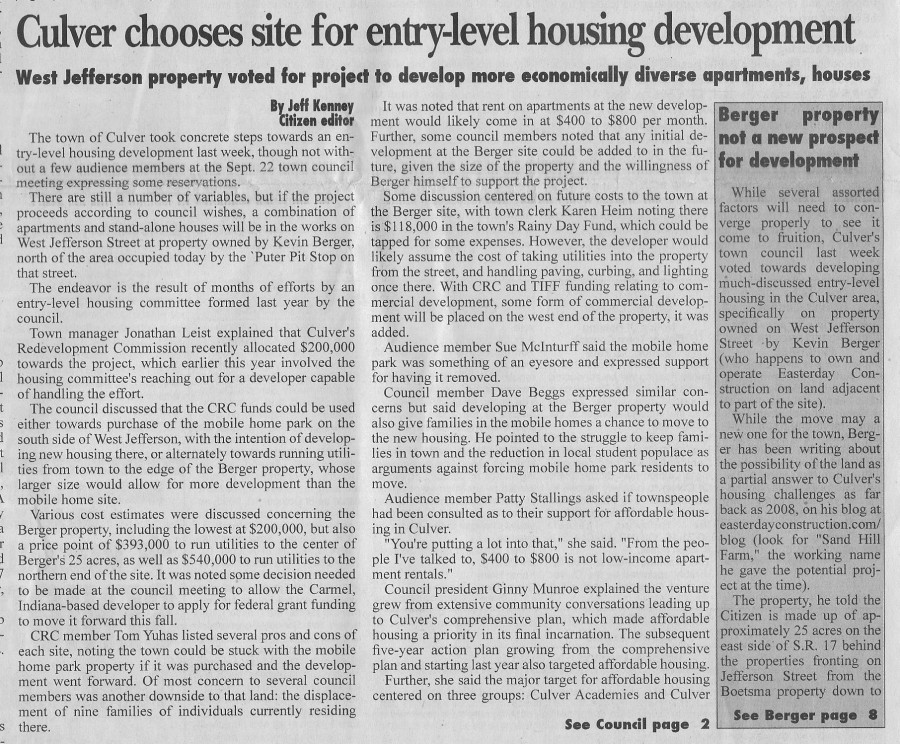 Culver Citizen - Culver Chooses Site for Entry Level Housing De