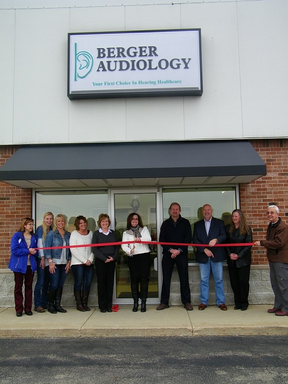 Ribbon Cutting in front of Berger Audiology 2930 Miller Drive, Plymouth, IN