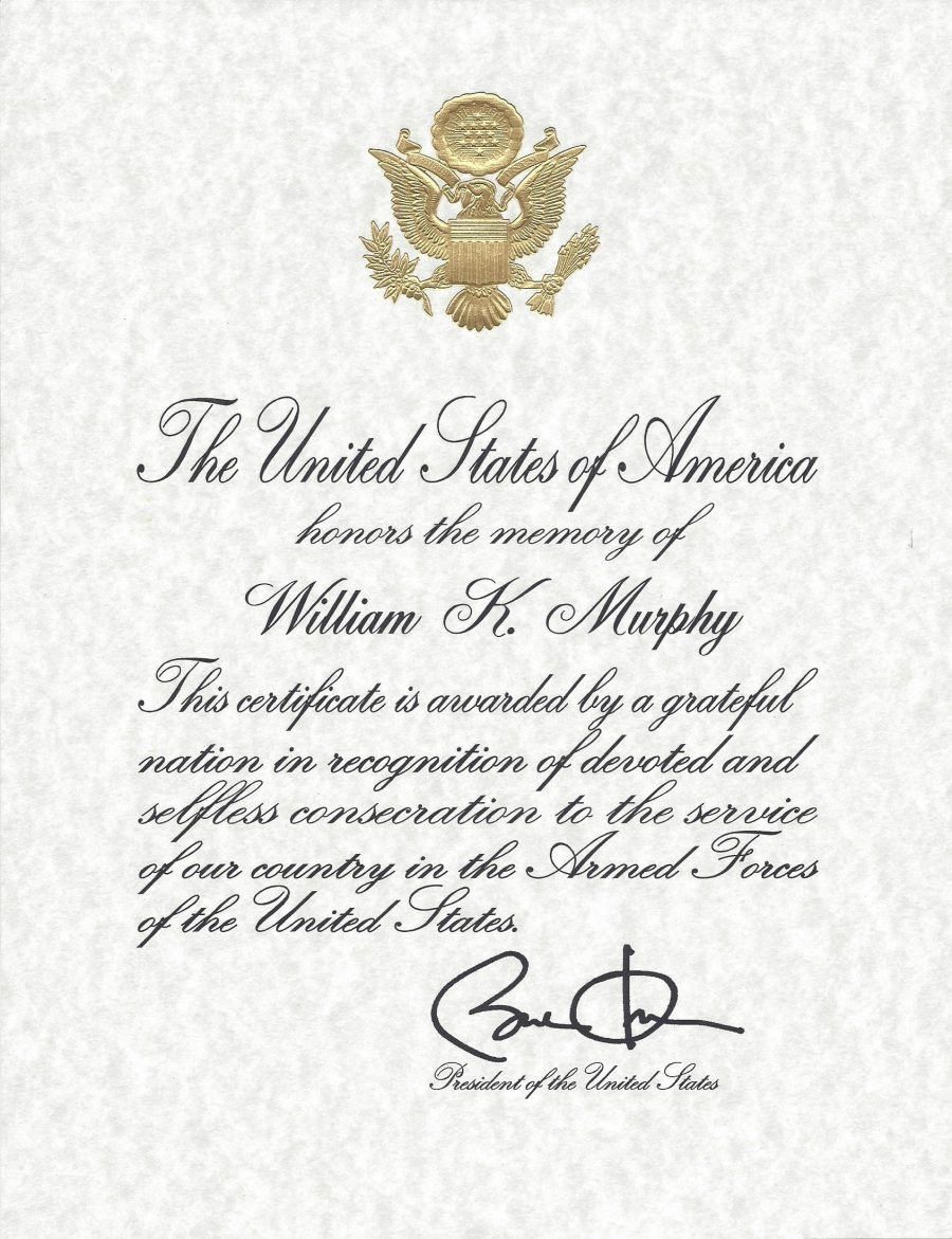 Murphy - Armed Forces Certificate